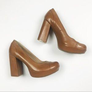Korks Blaire 7 Cognac Brown Leather Chunky Heels